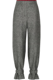 Chiffon-trimmed wool-blend jacquard tapered pants