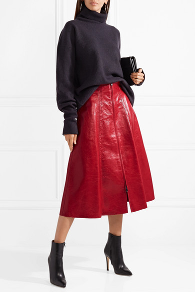 fendi leather midi skirt net a porter