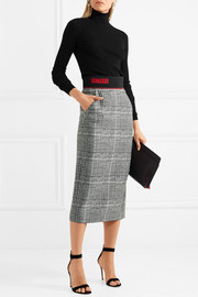 Fendi Jersey-trimmed checked wool and silk-blend midi skirt