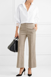 Fendi Tulle-trimmed cotton-poplin shirt