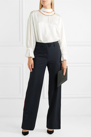 Fendi Mesh-trimmed satin blouse