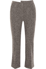 Cropped wool-blend tweed bootcut pants