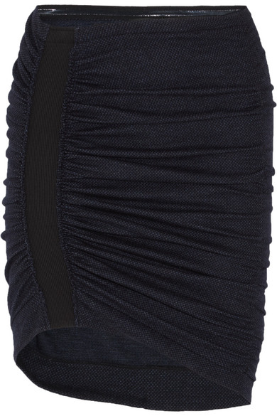 Atlein - Ruched Wool And Cotton-blend Tweed Mini Skirt - Navy