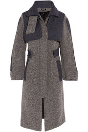 Two-tone wool-blend tweed coat