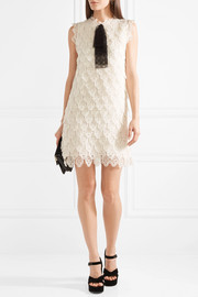 Chloé Tulle-trimmed embroidered silk-organza mini dress