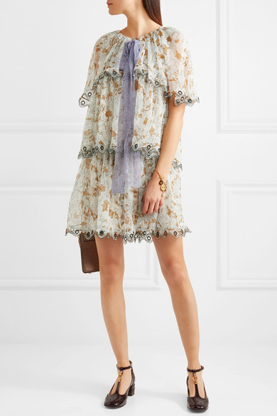 5815538003d1 Ruffled printed silk-chiffon mini dress
