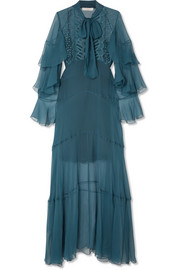 Ruffled embroidered silk-crepon gown