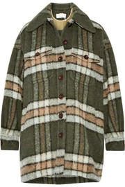 Oversized plaid mohair-blend jacket