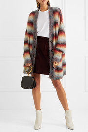 Oversized striped mohair-blend cardigan