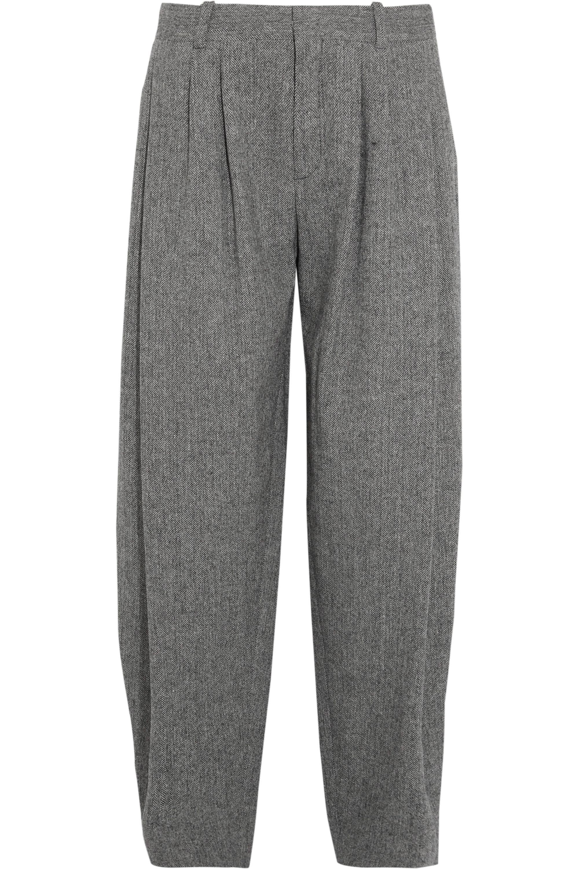 Chloé Pleated wool-blend tweed wide-leg pants