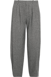 Pleated wool-blend tweed wide-leg pants