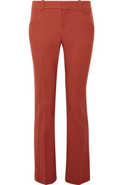 Wool-blend twill slim-leg pants