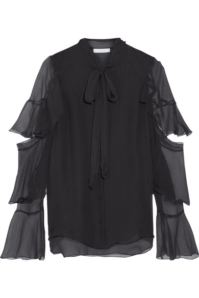 Chloé - Pussy-bow Ruffled Silk-mousseline Blouse - Black