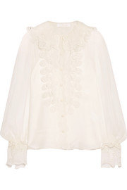 Chloé Broderie anglaise-trimmed silk-organza top