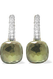 Nudo 18-karat white gold, prasiolite and diamond earrings