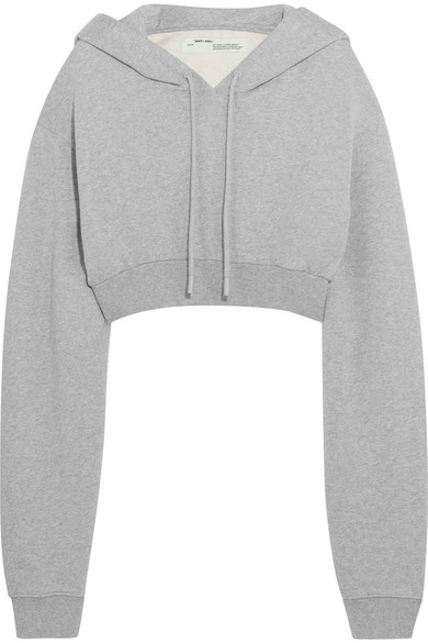 Off-White - Cropped Cotton-jersey Hooded Sweatshirt - Light gray