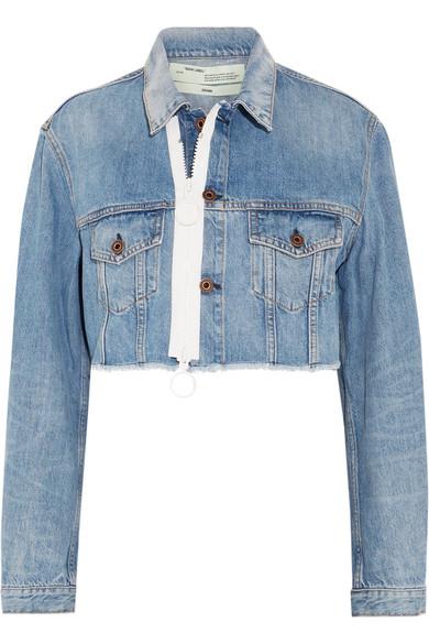 Off-White - Cropped Frayed Denim Jacket - Mid denim