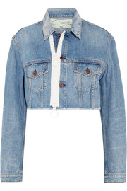 Cropped frayed denim jacket