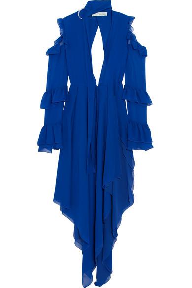 Off-White - Cold-shoulder Ruffled Silk-chiffon Maxi Dress - Blue