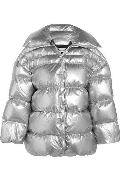 Off-White - Oversized Cotton And Pu-blend Down Jacket - Silver