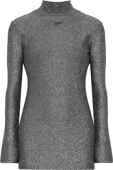 Off-White - Open-back Intarsia Lurex Mini Dress - Silver
