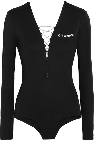Off-White - Appliquéd Lace-up Jersey Bodysuit - Black