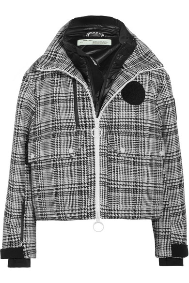 Off-White - Padded Prince Of Wales Checked Tweed Jacket - Gray