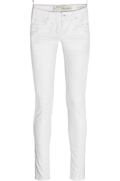 Off-White - Grosgrain-trimmed Mid-rise Skinny Jeans