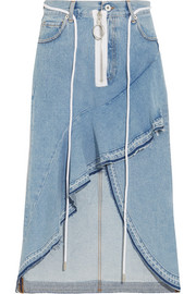 Asymmetric wrap-effect ruffled denim skirt