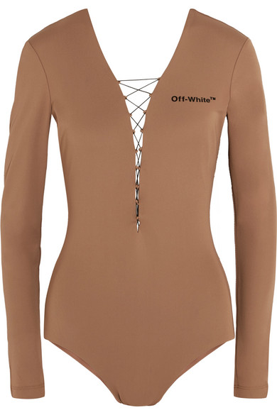 Off-White - Appliquéd Lace-up Jersey Bodysuit - Sand