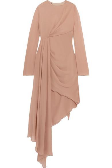 Off-White - Asymmetric Silk-chiffon Dress - Beige