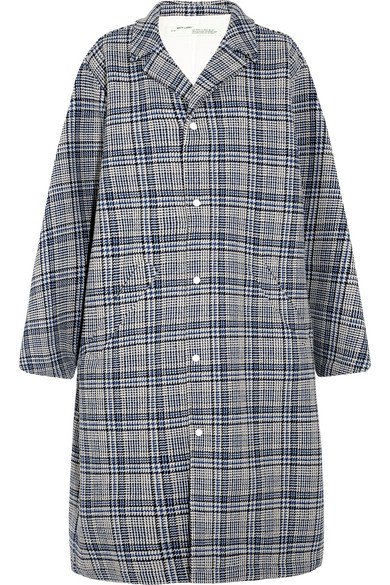 Off-White - Oversized Prince Of Wales Checked Woven Coat - Gray
