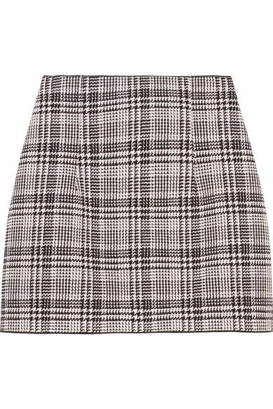 Off-White - Checked Tweed Mini Skirt - Gray