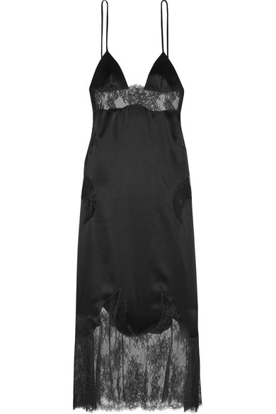 Off-White - Lace-paneled Satin Midi Dress - Black