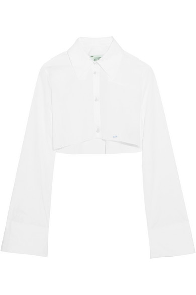 Off-White - Cropped Cotton-poplin Shirt