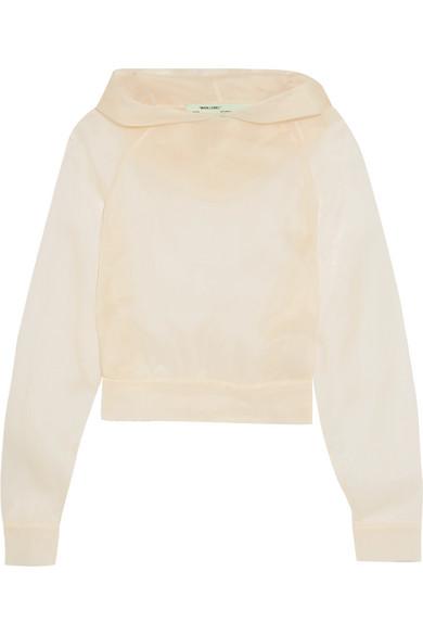 Off-White - Silk-organza Hooded Top - Ecru