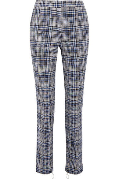 Off-White - Prince Of Wales Checked Woven Skinny Pants - Gray