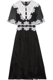 Dolce & Gabbana Lace-trimmed pleated silk-blend organza dress