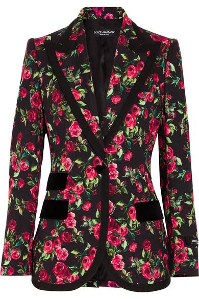 Dolce & Gabbana - Grosgrain And Velvet-trimmed Floral-print Crepe Blazer - Pink