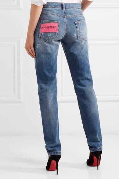 Dolce & Gabbana Schmale Boyfriend-Jeans in Distressed-Optik