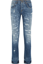 Distressed slim boyfriend jeans