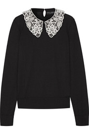 Guipure lace-trimmed wool sweater