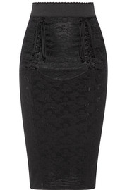 Dolce & Gabbana Lace-up mesh-jacquard pencil skirt