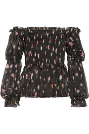 Dolce & Gabbana Roselline shirred printed silk-chiffon top