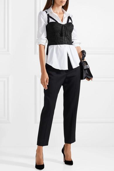Dolce & Gabbana Bustier-Oberteil aus Mesh-Jacquard mit Satinbesätzen und Schnürung