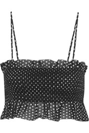 Lisa Marie Fernandez Selena smocked polka-dot cotton top