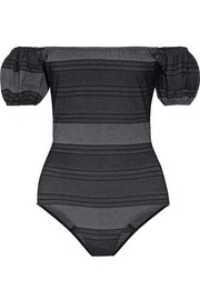 Lisa Marie Fernandez Leandra off-the-shoulder striped cotton-blend denim swimsuit