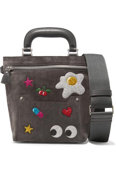 5b2ab3e036 Anya Hindmarch. Orsett mini glittered suede and leather shoulder bag