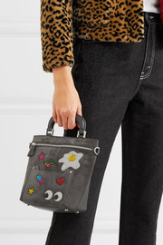 Anya Hindmarch Orsett mini glittered suede and leather shoulder bag