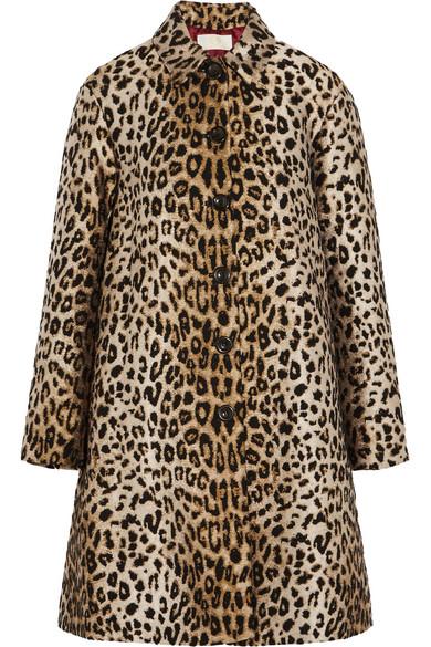 Sara Battaglia - Leopard-jacquard Coat - Leopard print